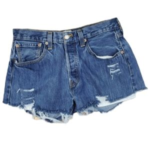 Levi's 501 Button Fly Hi-Rise Mom Wedgie Shorts 32